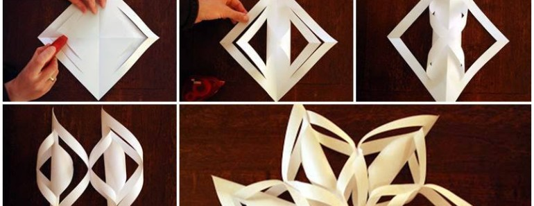 How To Make 3d Christmas Decorations From Paper : Diy d paper snowflake ornaments beesdiy