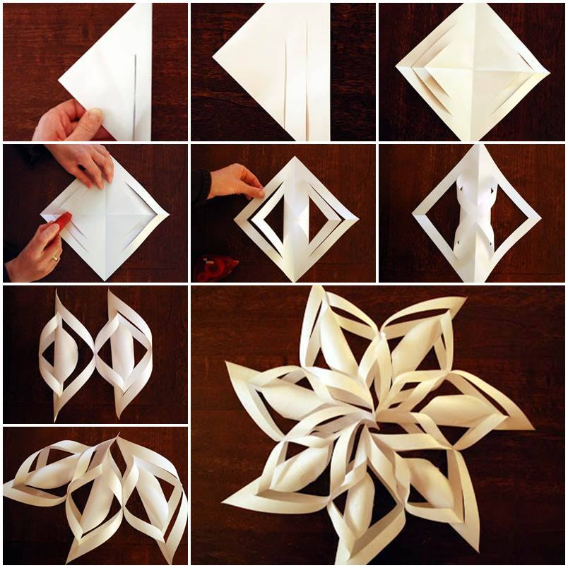 Diy 3d paper snowflake ornaments for Paper christmas decorations to make at home