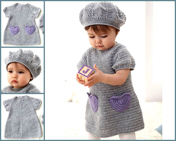 Beehive Crochet Baby Dress Hat Set (FREE Pattern)
