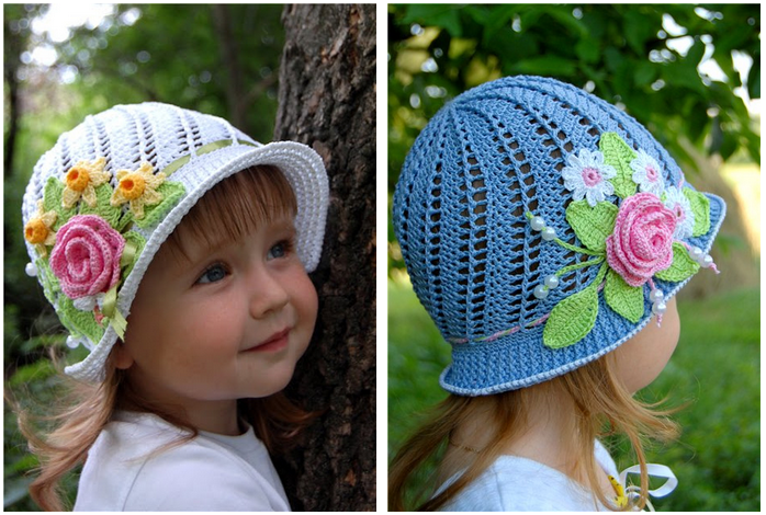 Pretty Crochet Girls Panama Hat (FREE patten and video)