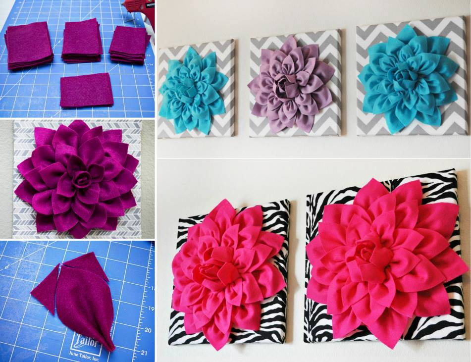 Diy 3d felt flower wall art for 3d canvas ideas