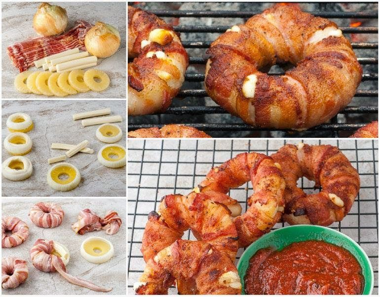 DIY Bacon-Wrapped Pineapple Mozzarella Rings Recipe ...