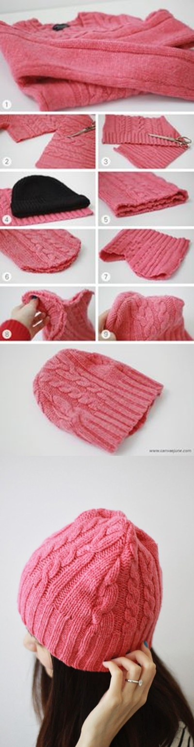 DIY-Beanie-Hat-from-Old-Sweater tutorial