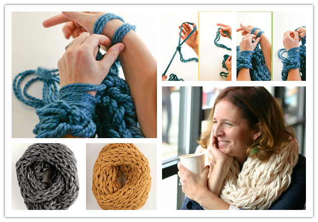Knitting With Your Arms Instructions : Diy easy arm knitted scarf tutorial beesdiy