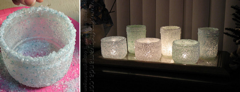 Christmas Frosted Epsom Salt Luminaries DIY Tutorial