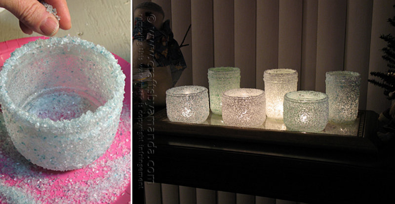 Christmas Frosted Epsom Salt Luminaries DIY