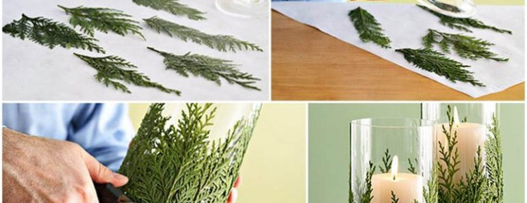 DIY Evergreen Candle Holder for Christmas