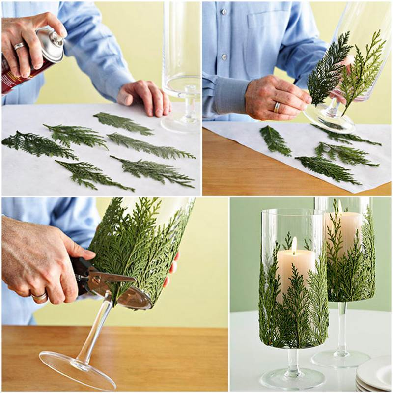 DIY-Evergreen-Candle-Holder for Christmas