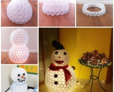 DIY Fun Snowman From Plastic Cups tutorial