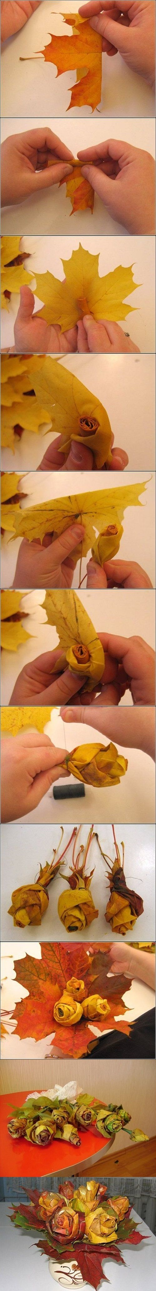 DIY-Maple-Leaf-Rose-Bouquet instructions