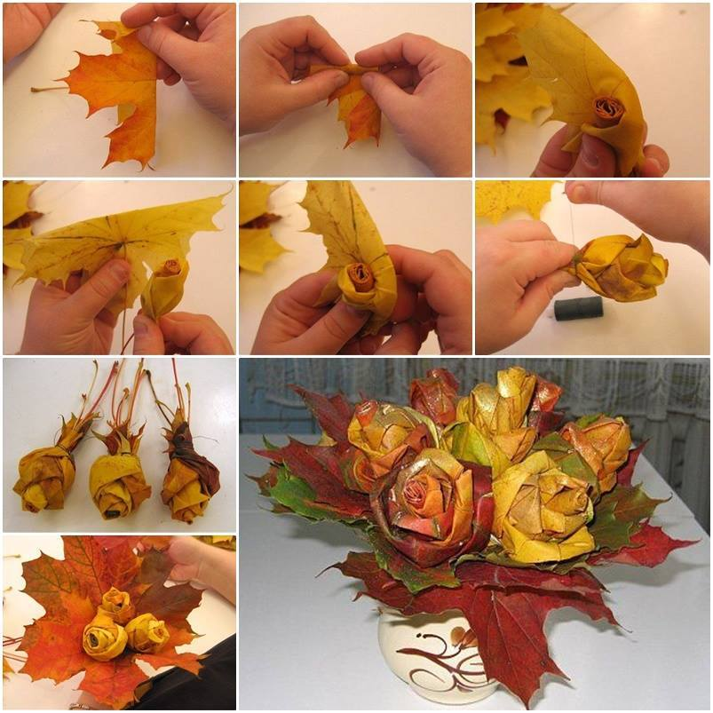 DIY-Maple-Leaf-Rose-Bouquet tutorial