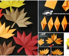 Origami Fall Leaf paper craft