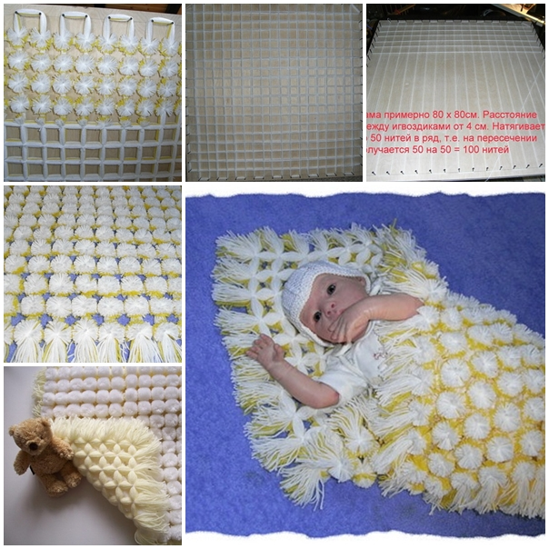 Diy Cozy Pom Pom Baby Blanket Video Beesdiy Com