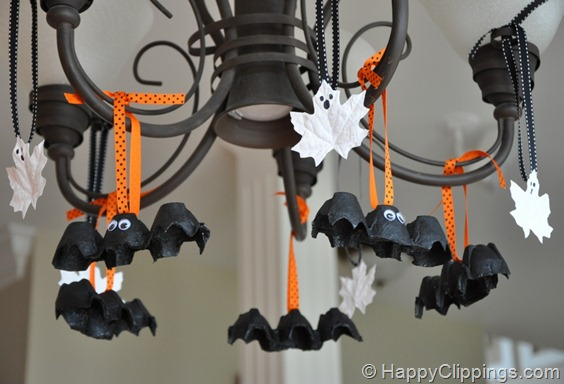 DIY Halloween Egg Carton Bats and Leaf Ghosts