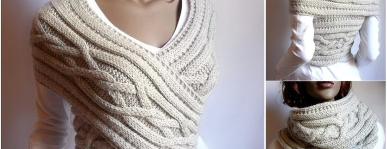 Knitted Sweater Cowl Vest DIY Tutorial (Video)