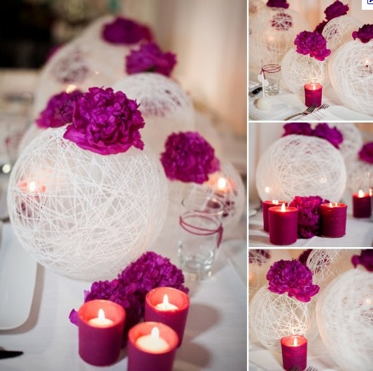 DIY lightted-colorful-yarn- ball centerpiece