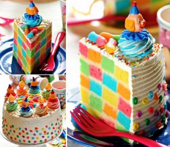 DIY-rainbow Checkerboard-Clown-Cake