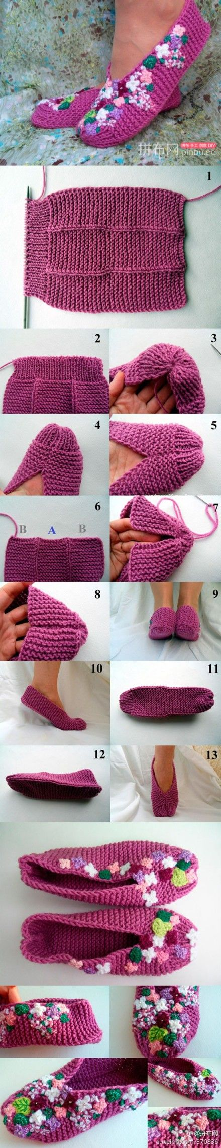 FREE Knitted Lilac Slippers pattern