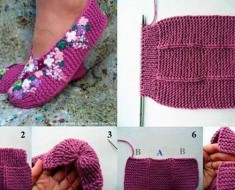 FREE Knitted Lilac Slippers patter -BEESDIY