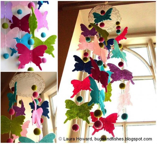 Diy butterfly mobile tutorials for Diy felt flower mobile