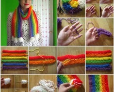 finger knitting,scarf,crafts