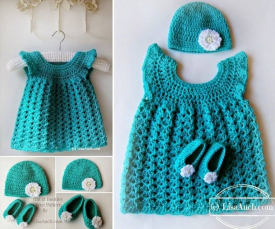 Girl's Crochet Dress Hat Set (FREE pattern)
