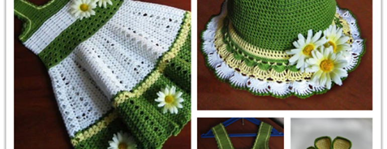 Beautiful Girl's Crochet Dress Hat Set Pattern