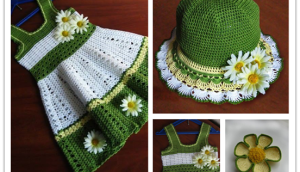 Girl's Crochet Dress and Hat Set (FREE pattern)f