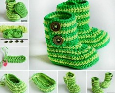 Green zebra Baby Booties Crochet FREE Pattern