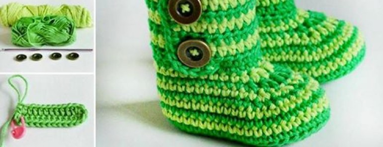 Green Zebra Crochet Baby Booties Pattern (FREE)