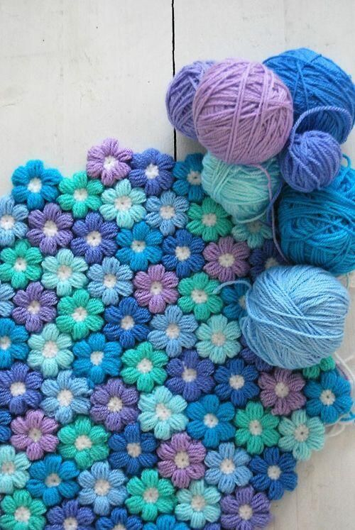 6-Petal-Crochet-Flowe Blanket for Baby