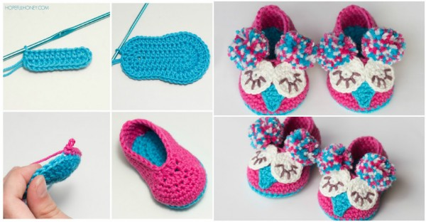 Owl Baby Booties Crochet Pattern