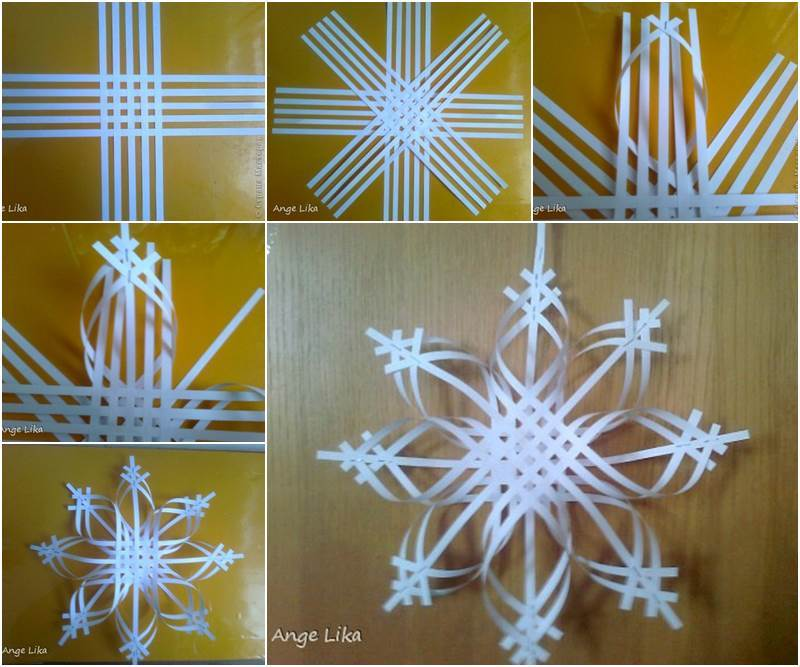 How To Make Paper Christmas Ceiling Decorations : Paper snowflake ornament diy tutorial beesdiy
