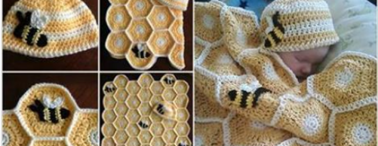 Sweet As Honey Crochet Baby Blanket Set Pattern