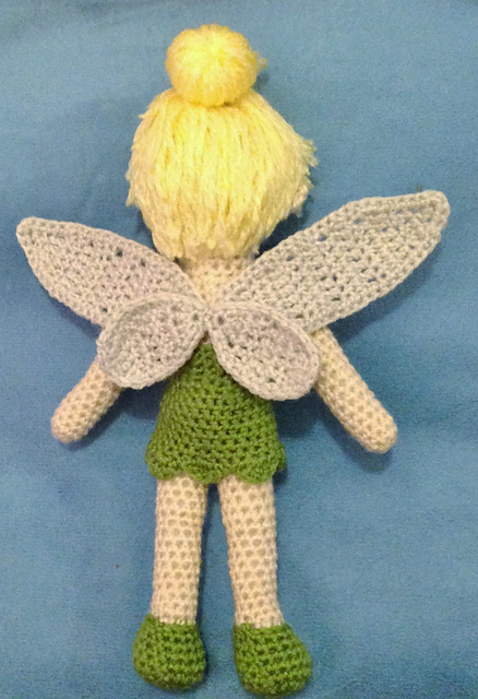 Free Crochet Pattern For Tinkerbell Hat : Cute Tinkerbell Crochet Doll Pattern (FREE) BeesDIY.com