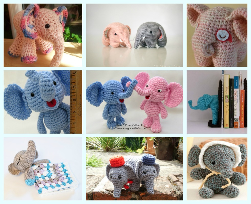 crochet Elephant free pattern round up f