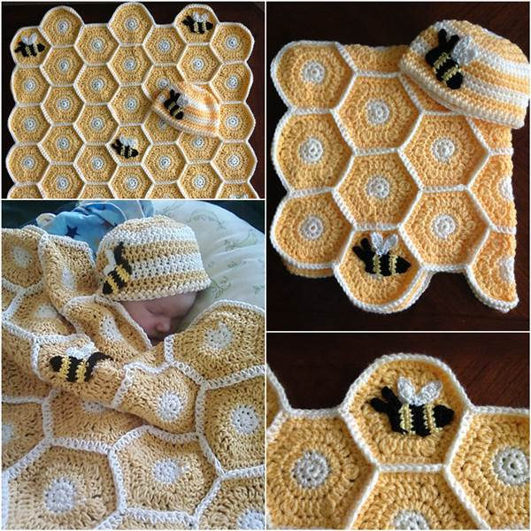 Sweet As Honey Crochet Baby Blanket Set