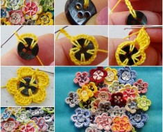crochet-button-flower free pattern