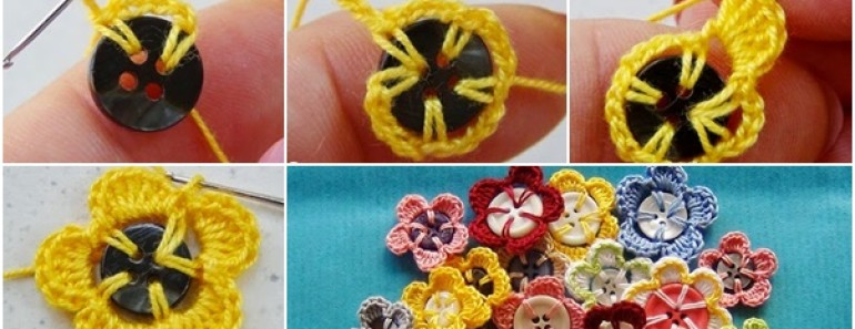 Crochet Button Flowers for Beginner ( Free Pattern)