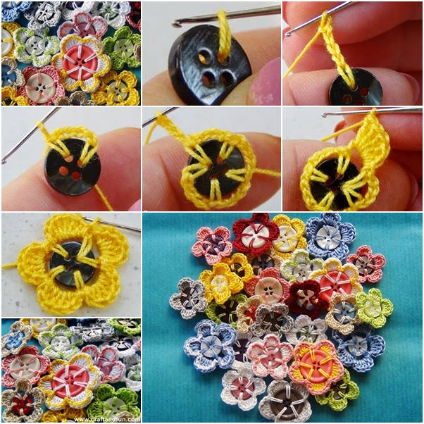 crochet-button-flowers free pattern