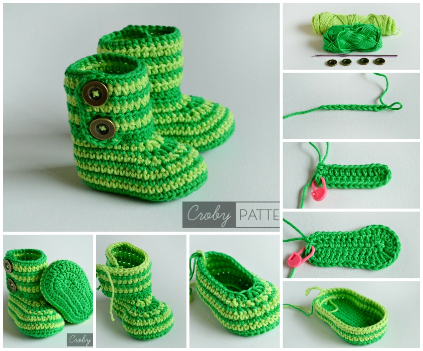 crochet green zebra baby booties F