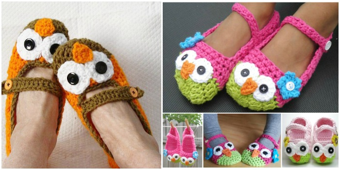 Mary Jane Owl Slippers Crochet Pattern (FREE) | BeesDIY.com