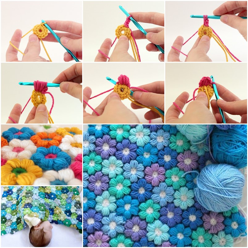 6-petal-puff stitch crochet flower blanket