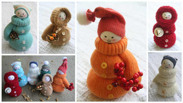 Adorable diy snowman from mittens for Christmas decorations to make at home for free
