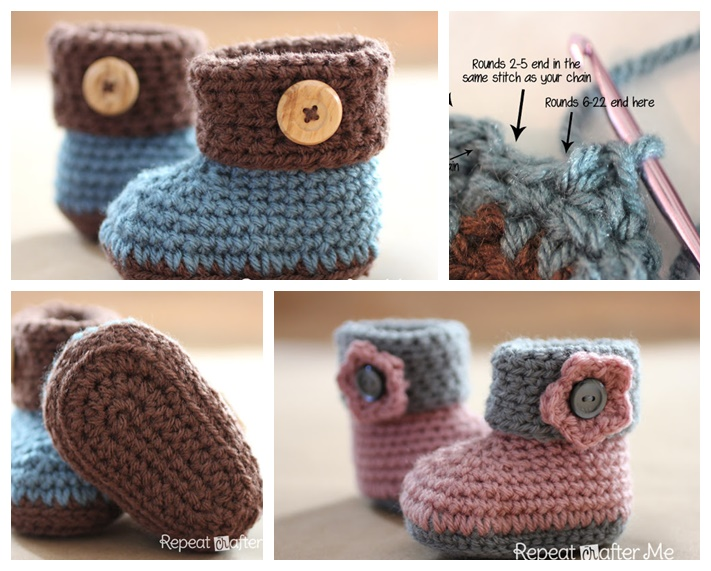 Crochet Cuffed Baby Booties Pattern (FREE)