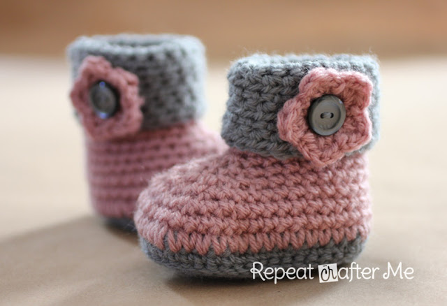 Crochet Cuffed Baby Booties Pattern (FREE)2