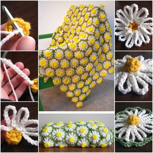 Vintage 70s Yellow Daisy Flower Afghan Throw Blanket Flower: Crochet Vintage Daisy Blanket Pattern