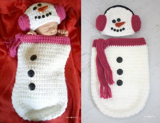 Crochet-Snowman-Ear-Muff-Hat-and-Cocoon FREE pattern