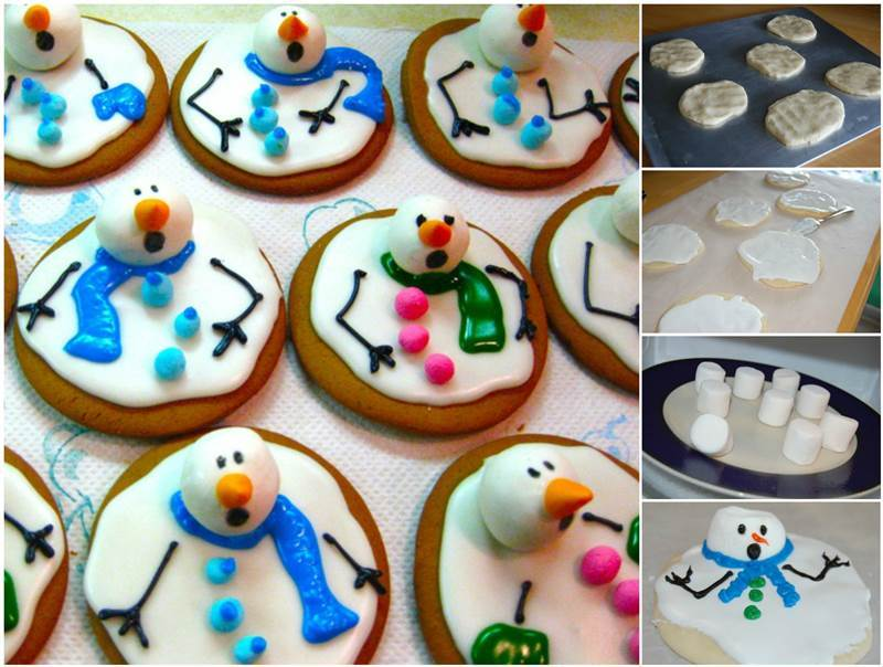 DIY Cute Melted Snowman Cookies Recipe
