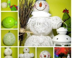 DIY-Adorable-Snowman-Using-Yarn-and-Balloon